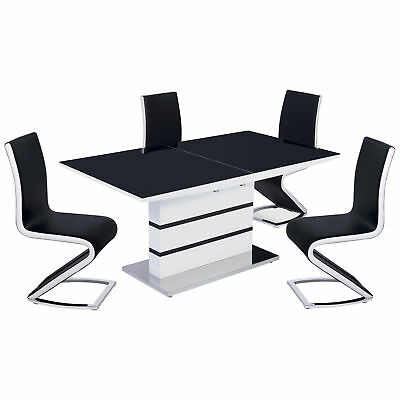 Black & High Gloss White Extending Dining Table and Chair Set with 4/6 Seats