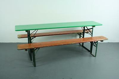 Vintage Industrial German Beer Table Bench Set Garden Painted