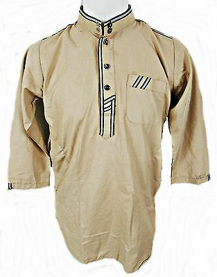 "Long Sleeve Stone Tunic Shirt, Contrast Edging, Abk Size Eu 44, 36"" Chest, Tr070"