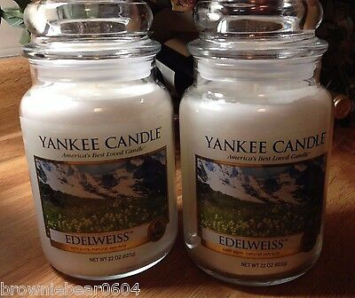 Two Yankee Candle EDELWEISS 22 oz. Large Jars