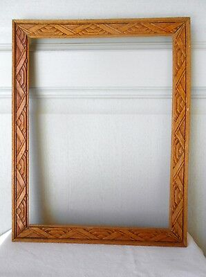 Vintage french wood Picture FRAME Plaque Pediment