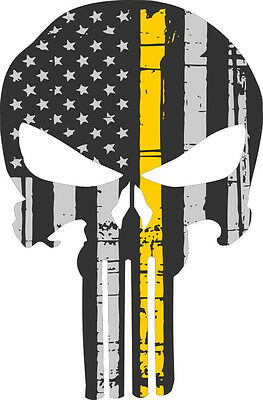 Punisher Skull Decal Yellow Flag Skull Window decal - 3 Sizes Free Shipping