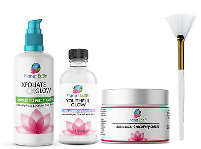 88% Lactic Acid Skin Peel Kit + Glycolic Cleanser + Recovery Cream + BRUSH
