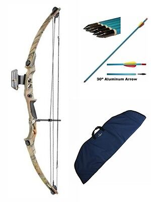 New Camo Archery Adult Compound Bow Complete Package with Bag and Arrows 55lb