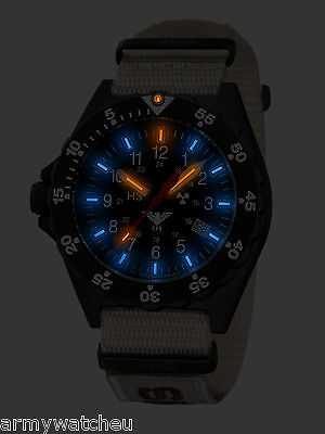 KHS Tactical Watches Military Wristwatch H3 trigalight Army Band XTAC 200 Metres