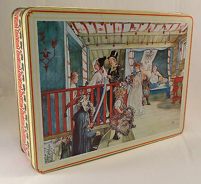 Vintage Carl Larsson England Wedding Tin Metal Box Storage Canister Container