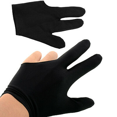 50 Pcs Nylon 3 Fingers Glove for Billiard Snooker Shooter Black High Quality