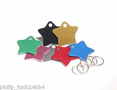 Coloured Star Name Tag Dog Tags Pet Id Tags Engraved & Free Split Ring