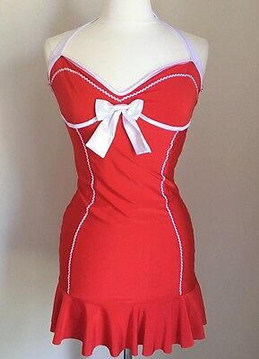 Playboy & Rabbit Head Red White Halloween Costume Size M Bow Accent