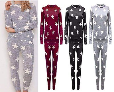 Lz171 Ladies Womens 2 Pcs Star Jogging Suit Tracksuit Lounge Wear Uk Sizes 8-26