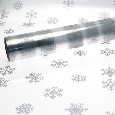 Christmas Cellophane Large Silver Snowflake Pattern 1M - 100 Meters Multi List