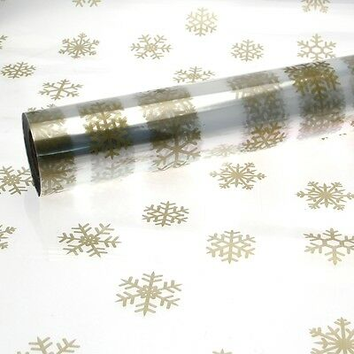 Christmas Cellophane Large Gold Snowflake Pattern 1M - 100 Meters Multi List