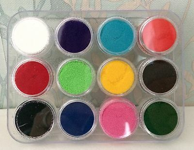 Opaque Embossing powders - Set of 12 - Red, Black, White, Yellow, Pink, Blue