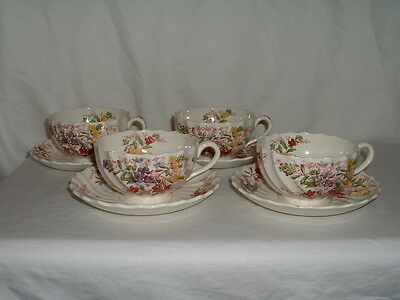 Lot 4 Copeland Spode Fairy Dell Spiral Cup & Saucer Sets