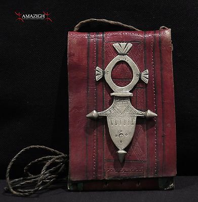 Authentic Tuareg Leather Wallet – Old Silver Iférouane Cross - Niger