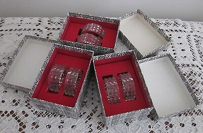 6 BOXED VINTAGE CRYSTAL/GLASS HOBNAIL NAPKIN RINGS – 3 boxes of 2 [6]