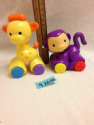 Fisher Price Amazing Animals Click Toys Lot Giraffe And Monkey Guc