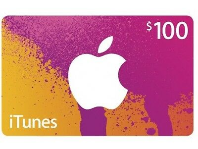 $100 iTunes Gift Card/Voucher/Certificate for Apple US Store FAST Shipping