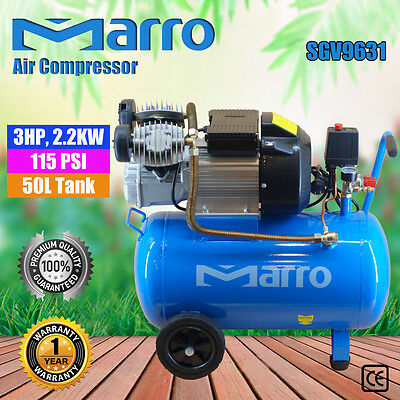 NEW Marro Industrial Air Compressor 50L 3HP, 2.2KW ELECTRICAL MOTOR