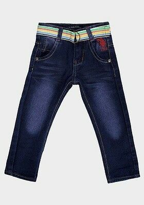 Boys' Denim Jeans with Double-Ring Canvas Belt