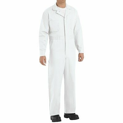 New Red Kap 100% Cotton Button-Front White Work Uniform Coverall CC16 Irregular