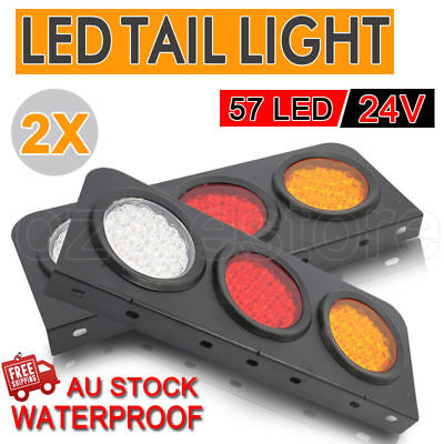 2 X LED TAIL LIGHTS TRUCK UTE REAR TRAILER STOP INDICATOR 24 Volt WATERPROOF NEW