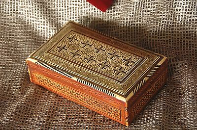 Old Middle Eastern Inlaid Wooden Box …beautiful pattern