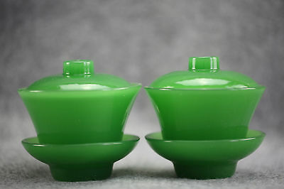 Chinese exquisite beyond compar Delicate jade Teacup One pair of