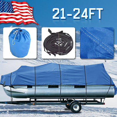 New 21-24 Ft 600D Heavy Duty Fabric Waterproof Trailerable Pontoon Boat Cover