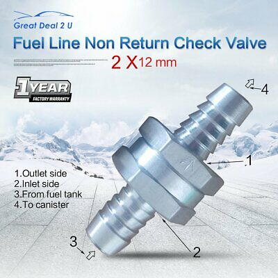 "Aluminium 12mm 1/2"" One Way Non Return Check Valve Fuel Line Petrol Diesel Water"