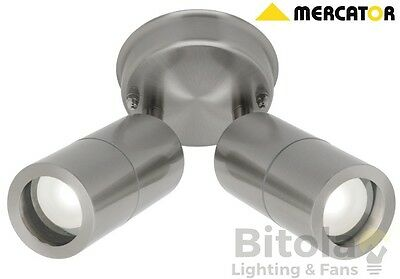 NEW MERCATOR FISCHER 316 STAINLESS STEEL 2x 9w LED 2 LIGHT ROUND OUTDOOR DOUBLE
