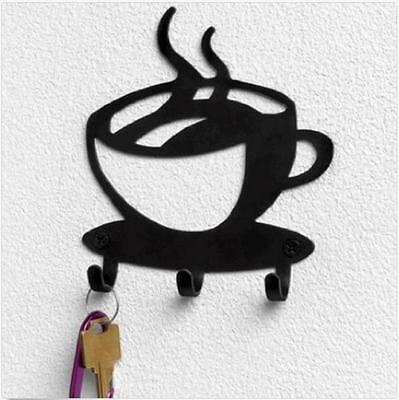 Decorative Coffee Wall Mount Metal 3 Hook Key Rack Hanger Organizer Decor New