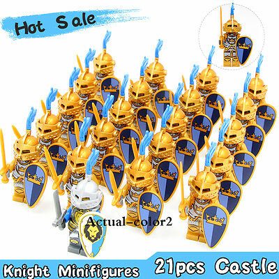 21pcs Golden Medieval Castle Knights Heavy Armor with Weapons Minifigures Toys