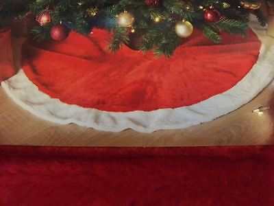 New Luxury Red With White Trim Christmas  Tree Skirt Decoration 100cm Faux Fur