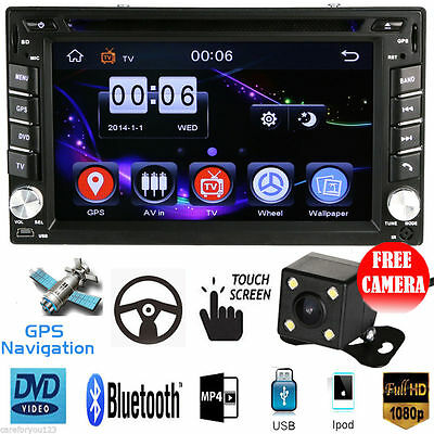 "HD 6.2"" 2 Din GPS Navigation Car Stereo DVD CD MP5 Player iPod FM Radio +Camera"