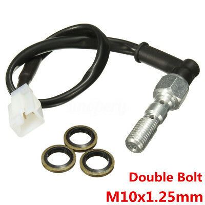 Motorcycle Hydraulic Brake Pressure Light Switch Double Banjo Bolt M10 x 1.25mm