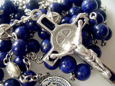 Real Lapis lazuli beads 5 DECADE Rosary & ST.BENEDICT Cross Gift Necklace Box