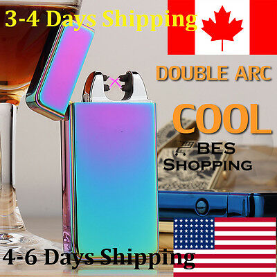 usb rechargeable lighter dual 2 arc electric plasma flameless windproof Oil Mark