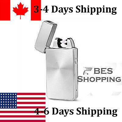 usb rechargeable lighter dual 2 arc electric plasma flameless windproof Silver
