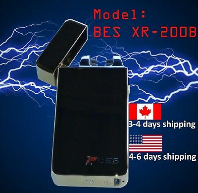 usb rechargeable lighter dual 2 arc electric plasma flameless windproof Black