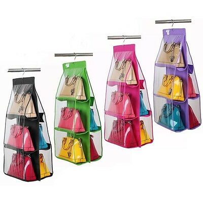 6Pocket Purse Bag Anti-dust Hanging Storage Organizer Closet Hangers Shelf New