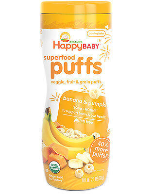 Happy Baby Superfood Puffs - banana & pumpkin (Pack of 6)