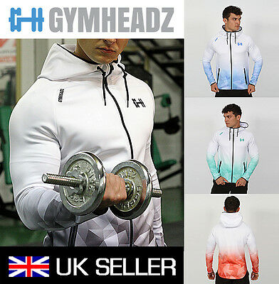 Mens Zip Up Gym Hoodie Hooded Jacket Muscle Bodybuilding Jacket Size  S M L XL