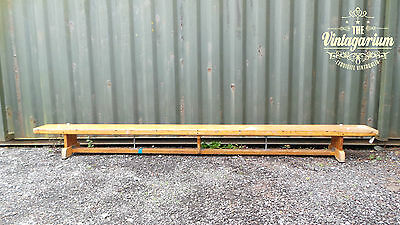 10' Long Vintage Industrial School Gym Bench Apparatus Hallway Plant Stand Seat