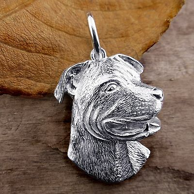 Sterling Silver PIT BULL TERRIER DOG Pendant or Charm