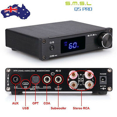 SMSL Q5pro 50W USB Coaxial Optical Bass Digital Power HiFi Amplifier with Remote