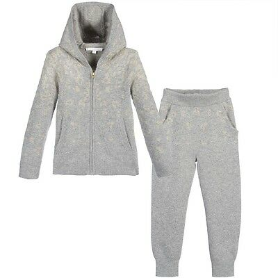 Chloe Baby Grey Gold Angora Knitted Tracksuit Outfit 3 Years
