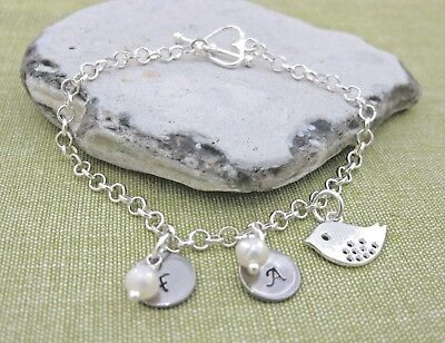 Silver Plated Bracelet Personalized 1 2 3 Initials Glass Pearl Bird New Mum Hen