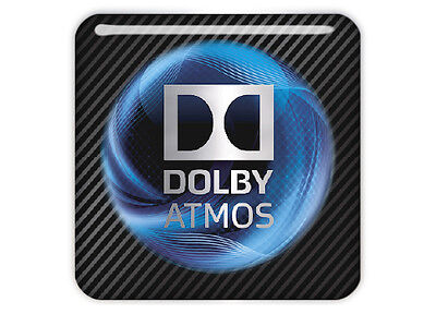 "Dolby Atmos 1""x1"" Chrome Effect Domed Case Badge / Sticker Logo"