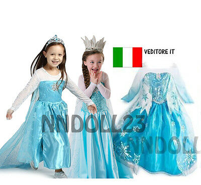 CARNEVALE COSTUME FROZEN dress bambina ELSA VESTITO BIMBA TRAVESTIMENTO new